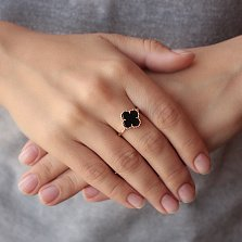 Золотое кольцо Клевер в красном цвете с агатом в стиле Ван Клиф