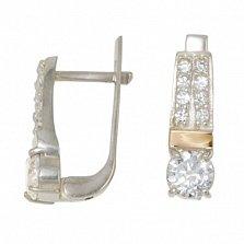 Серебряные серьги со вставками золота и фианитами Рондо