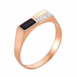 Перстень-печатка из красного золота с ониксом и фианитами 000133081