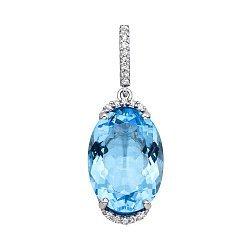 Серебряный кулон с голубым кварцем и фианитами 000134829