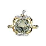 Золотое кольцо с зеленым кварцем и бриллиантами Райское яблоко