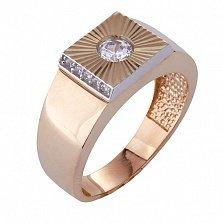 Золотой перстень-печатка с фианитами Остин