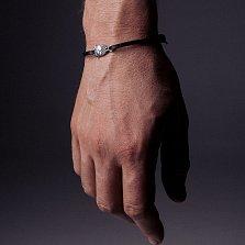 Кожаный браслет с серебром Owl Black с чернением