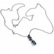 Кулон из белого золота Небосвод с голубым топазом, сапфирами и бриллиантами