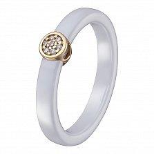 Кольцо в желтом золоте Инга с белой керамикой и бриллиантами
