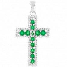 Серебряный крестик Тереза с зеленым агатом и фианитами