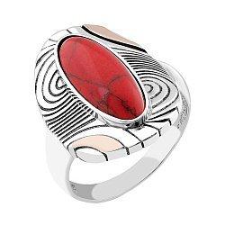 Серебряное кольцо с золотыми накладками и имитацией яшмы 000088791
