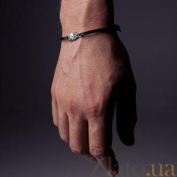 Кожаный браслет с серебром Owl Black с чернением 000091318