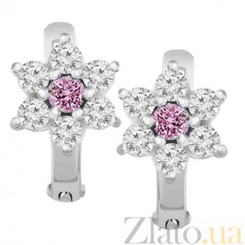 Серебряные серьги с розовым фианитом Аэлита 000032507