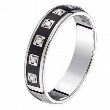Кольцо в белом золоте Эдита с бриллиантами и эмалью