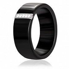 Кольцо из черной керамики и серебра Млечный путь с фианитами