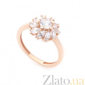 Золотое кольцо Маргарита с цветком и белыми фианитами 000082333
