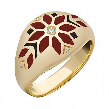 Кольцо в желтом золоте с бриллиантами и эмалью 000073469