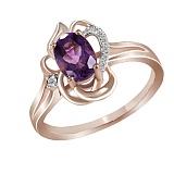 Кольцо из красного золота Ярослава с аметистом и бриллиантами