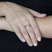 Разомкнутое кольцо в желтом золоте Мой ангел с рубинами