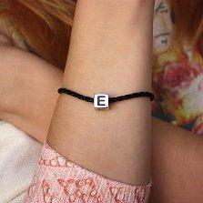 Серебряный шарм-куб Буква E с черной эмалью