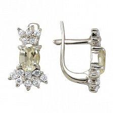 Серебряные серьги Марица с бериллом цвета шампань и фианитами