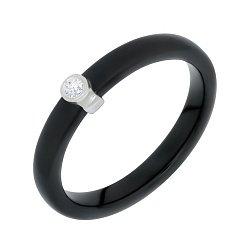 Серебряное кольцо Ваена с черной керамикой и фианитом