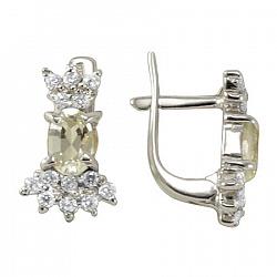 Серебряные серьги Марица с бериллом цвета шампань и фианитами 000089548