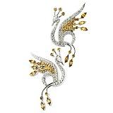 Золотые серьги с бриллиантами и сапфирами Жар Птица