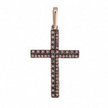 Крестик в красном золоте Мироздание с фианитами