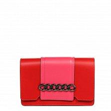 Кожаный клатч 1663 в красном цвете с коралловыми вставками, декоративным элементом и ремнем на плечо