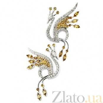 Золотые серьги с бриллиантами и сапфирами Жар Птица KBL--С2190/бел/сапф