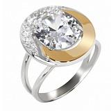Серебряное кольцо с золотыми вставками и цирконием Ягуар