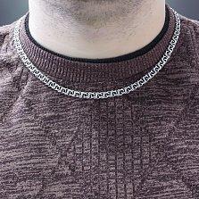 Серебряная цепочка Диего с чернением в плетении арабский бисмарк, 6мм