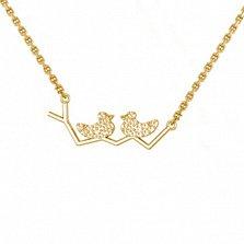 Золотое колье в желтом цвете Утиные истории с цирконием