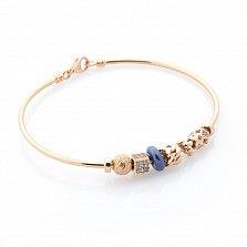Золотой браслет Джасинта с фианитами и синим полимером