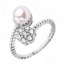 Серебряное кольцо Гвинет с жемчугом и цветком из фианитов