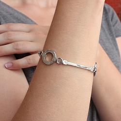Серебряный браслет Круговой меандр с разноформатными звеньями