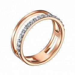 Золотое кольцо Наслаждение в красном цвете с раздвоенной шинкой и дорожкой фианитов