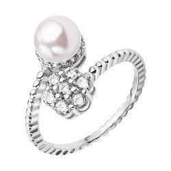 Серебряное кольцо с жемчугом и цветком из фианитов 000118247