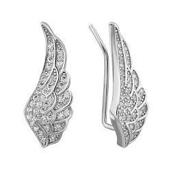 Серебряные серьги-каффы с фианитами 000132433