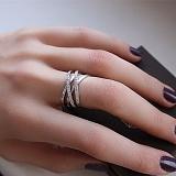 Серебряное кольцо четыре в одном с фианитами Клео