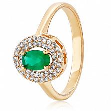 Золотое кольцо с ониксом и фианитами Марта
