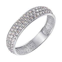 Золотое кольцо в белом цвете с фианитами 000122550