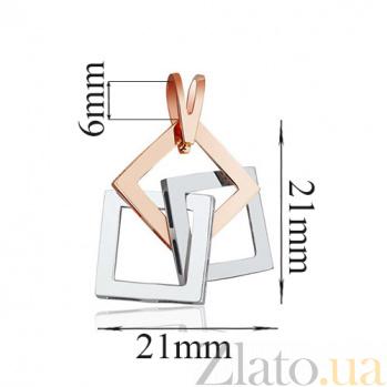 Золотая подвеска Квадрат EDM--П0265