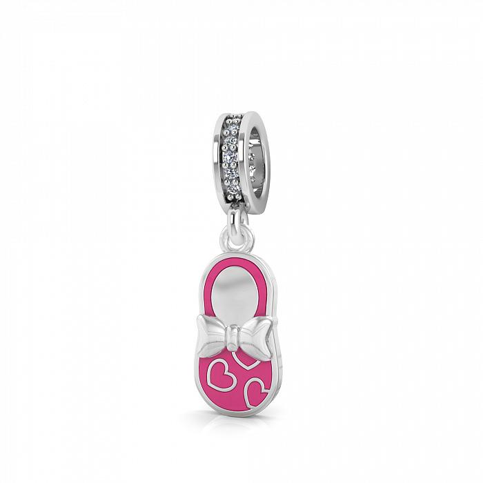 Серебряный шарм Балетка с фианитами и розовой эмалью 000067232