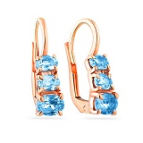 Золотые серьги с голубым кварцем Ирена