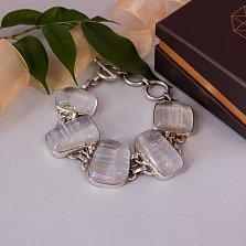 Серебряный браслет Голди с имитацией опала, (16-19см)