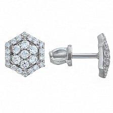 Серебряные серьги-пуссеты Camellia