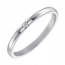 Обручальное кольцо из белого золота с цирконием 000000325