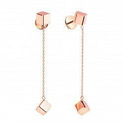 Золотые серьги-подвески Любовь в кубе с подвесными элементами в форме кубика и цепочками