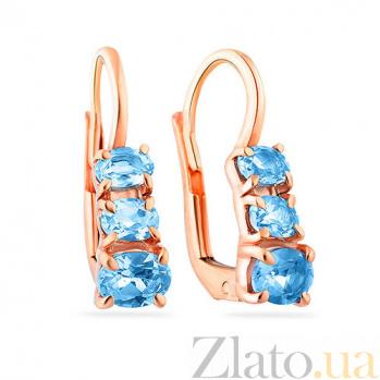 Золотые серьги с голубым кварцем Ирена SUF--102590