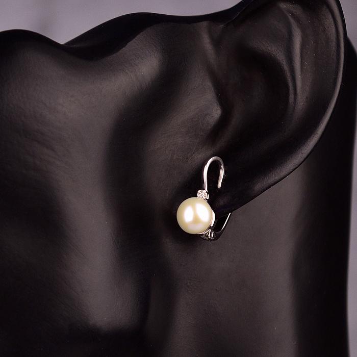 Серебряные серьги Селина с жемчугом и бриллиантами 000072330