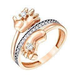 Золотое кольцо в комбинированном цвете с фианитами 000126224