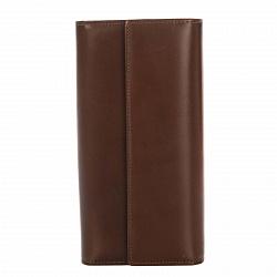 Кожаный кошелек Genuine Leather gf029 коричневого цвета на кнопке с креплением для пояса